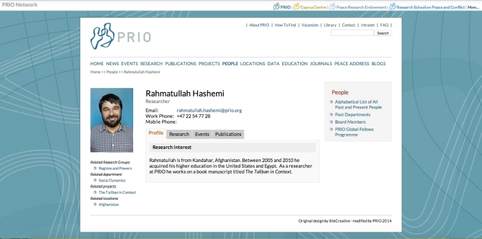 Hashemi's page on the PRIO website (http://www.prio.org/People/Person/?x=8092)